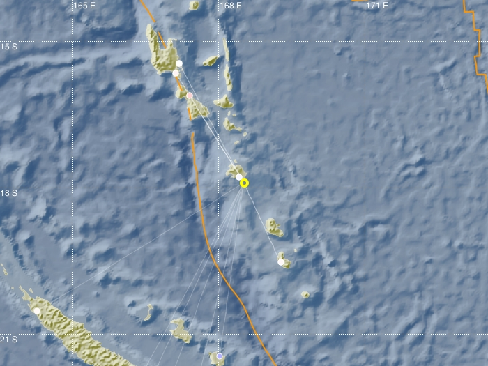 Seismic map of earthquake at Loyalty Islands